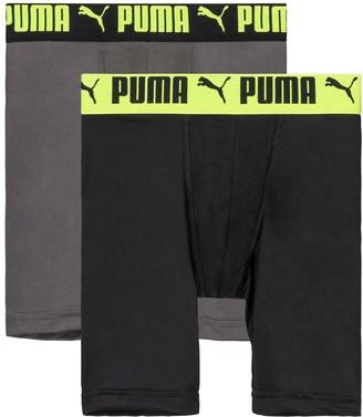 Puma Boys' Underwear BLACK/YELLOW - Black & Yellow Long Leg Performance Boxer Briefs Set - Boys