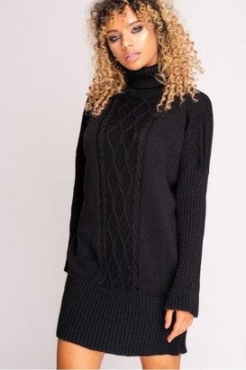 Hachu Black Cable Knit Roll Neck Jumper Dress