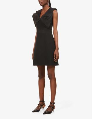 Alexander McQueen Bow-detail wool and silk-blend mini dress