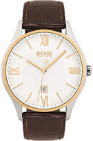 BOSS 1513486-58058012 Governor stainless steel and leather strap watch