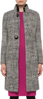 Akris Punto Diagonal-Stripe Boucle Coat, Black/Cream