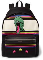 Saint Laurent City Leather-Trimmed Dinosaur-Patterned Canvas Backpack