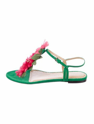 Charlotte Olympia Suede T-Strap Sandals Green