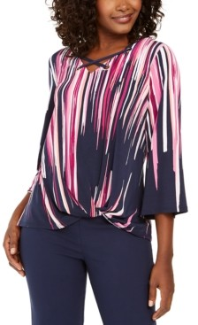 JM Collection Printed Grommet-Trim Twist-Front Top, Created for Macy's