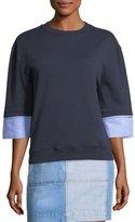 Derek Lam 10 Crosby Crewneck Half-Sleeve Wool-Blend Sweatshirt w/ Shirting Cuffs