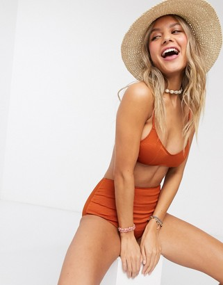 Monki Anna textured cross back bikini top in rust