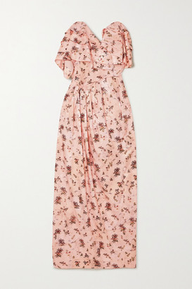 Preen by Thornton Bregazzi Novella Strapless Ruffled Floral-print Satin-jacquard Dress - Peach