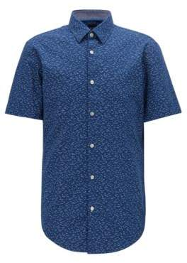 BOSS Slim-fit short-sleeved shirt with exclusive bird print
