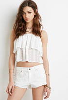 Forever 21 FOREVER 21+ Embroidered Panel Cutoffs