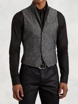 John Varvatos Cotton Linen Wire Collar Vest