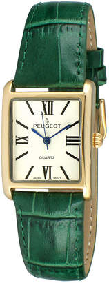 Peugeot Womens Gold Tone Roman Numeral Green Leather Strap Watch 3036GR