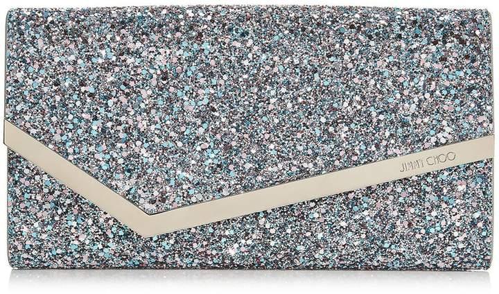 Jimmy Choo EMMIE Bubblegum Mix Coarse Glitter Fabric Clutch Bag