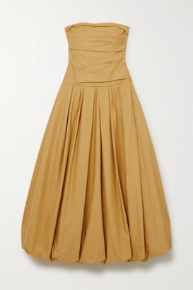 KHAITE Ingrid Strapless Gathered Cotton-twill Gown - Mustard