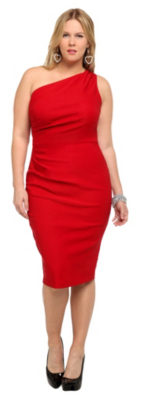 Stop Staring! - Red One-Shoulder Wiggle Dress