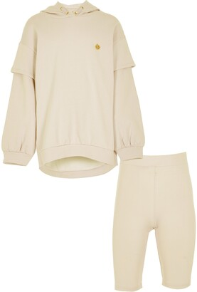 River Island Girls Brown long line sweat short set