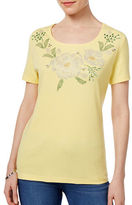 Karen Scott Petite Petite Embellished Floral Graphic Top