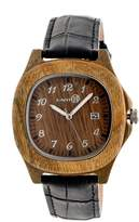 Earth Wood Men's Sherwood Crocodile Embossed Genuine Leather Strap Watch, 40mm