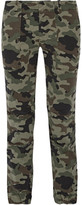 Nili Lotan French Military Camouflage-print Brushed Cotton-blend Twill Tapered Pants - Army green
