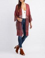Charlotte Russe Mixed Crochet Fringe Kimono
