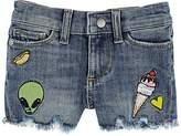 DL 1961 Kids' Lucy Embroidered Denim Cutoff Shorts