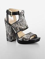 Calvin Klein Black Vallin Cutout Leather Platform Sandal