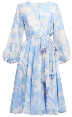 Beulah - Nandita Blue Shadow Floral Print Silk Midi Dress - Womens - Blue White