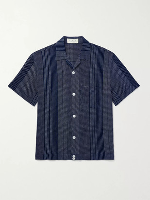 SMR Days - Grandad-Collar Slub-Linen Shirt - Men - Blue