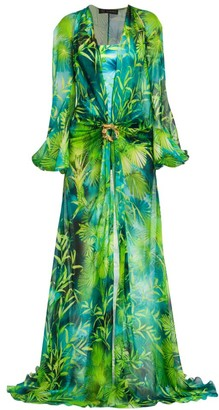 Versace Jungle-Print Silk Caftan Gown