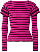 Philosophy di Lorenzo Serafini Tiered Striped Ribbed Cotton Sweater - Magenta