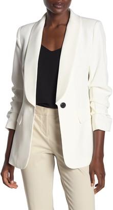 Love Token Shawl Collar One Button 3/4 Gathered Sleeve Blazer