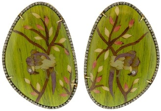 Silvia Furmanovich 18kt gold diamond Bird Marquetry earrings
