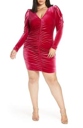 Leith Velour Ruched Minidress