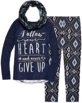 Arizona Crochet Back Top with Scarf Legging Set - Girls 7-16 and Plus