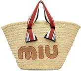 Miu Miu Tan Ribbon Handle Straw Bag