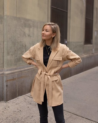 The Drop Women's Golden Sand Loose Tie-Front Utility Jacket by @laurie_ferraro XL
