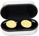I Luv LTD Oval Cufflinks in a Chrome Box