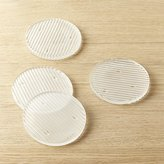 CB2 Ridge Frosted Glass Coasters Set of 4