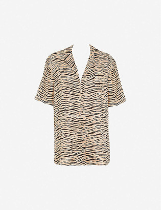 Faithfull The Brand Charlita animal-print linen shirt dress