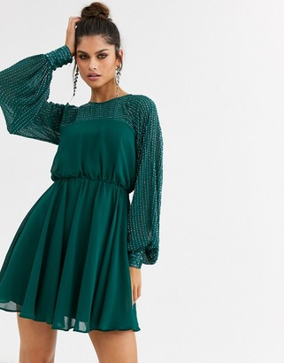 Asos Design DESIGN mini dress with linear yoke embellishment-Green