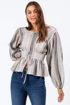 francesca's Breann Corset Stripe Blouse - Gray