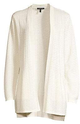 Eileen Fisher Women's Seersucker Silk & Organic Cotton Cardigan Sweater