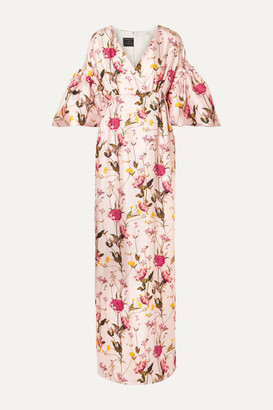 Mother of Pearl Scarlett Faux Pearl-embellished Floral-print Silk-twill Maxi Dress - Pastel pink