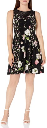 Julian Taylor Women's Floral Printed Dress with Crochet Lace Illusion Black/Multi 12