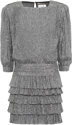 Saint Laurent Metallic silk-blend minidress