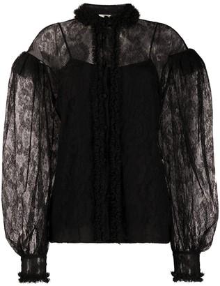 Fendi Lace Puff-Sleeve Blouse
