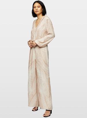 Miss Selfridge Pink Long Sleeve Beaded Jumpsuit