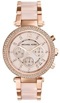 MICHAEL Michael Kors Michael Kors 'Parker' Blush Acetate Link Chronograph Watch, 39mm