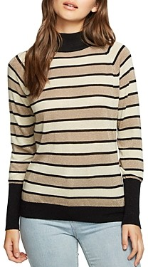 Chaser Metallic Striped Mock Neck Sweater