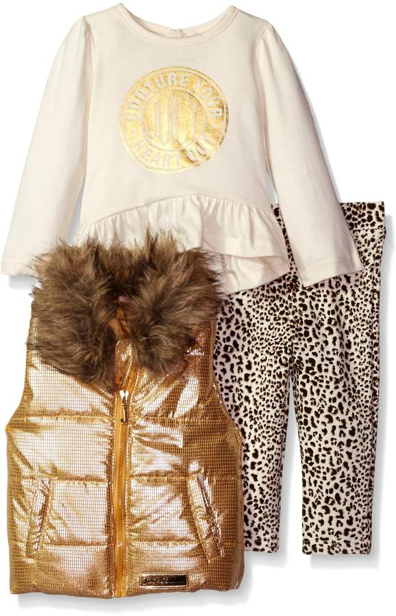 Juicy Couture Girls' 3 Piece Vest, High-Low Top, and Printed Legging Set