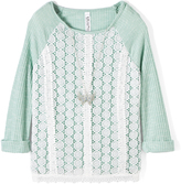 Beautees Green & White Lace-Panel Scoop Neck Top - Girls
